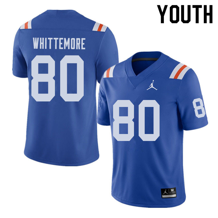 Jordan Brand Youth #80 Trent Whittemore Florida Gators Throwback Alternate College Football Jerseys